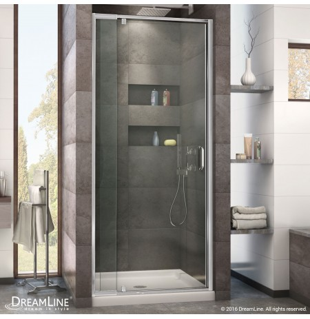 DreamLine Flex 36-in. W x 36-in. D x 74-3/4-in. H Frameless Shower Door and Base Kit, Chrome Finish Hardware