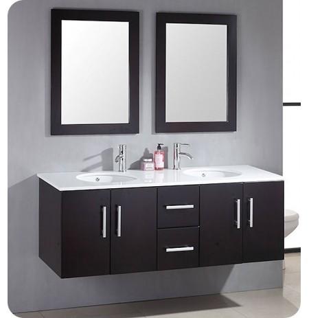 Cambridge Plumbing 8135 59 inch Wood & Porcelain Double Basin Sink Vanity Set