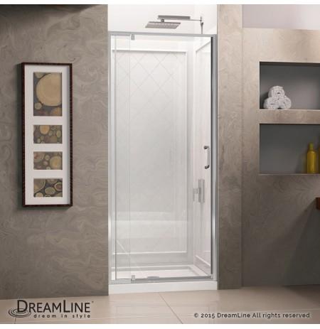 DreamLine Flex 36-in. W x 36-in. D x 76-3/4-in. H Frameless Shower Door, Backwall and Base Kit, Chrome Finish Hardware