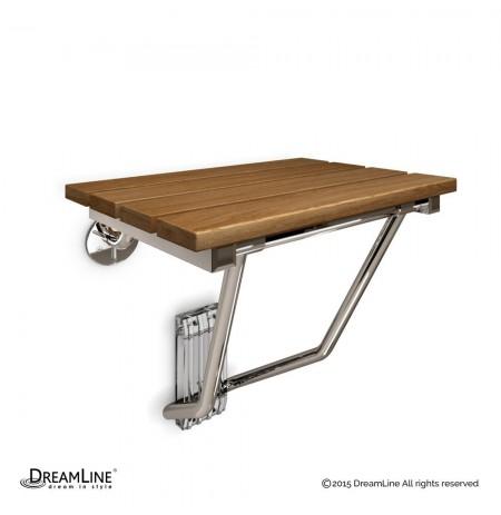 DreamLine Natural Teak Folding Shower Seat. ADA Compliant Shower Seat