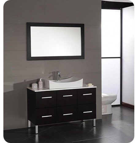 Cambridge Plumbing 8112 47 inch Modern Bathroom Vanity Set with Wood & White Porcelain Counter Top and Oversize Porcelain Vessel